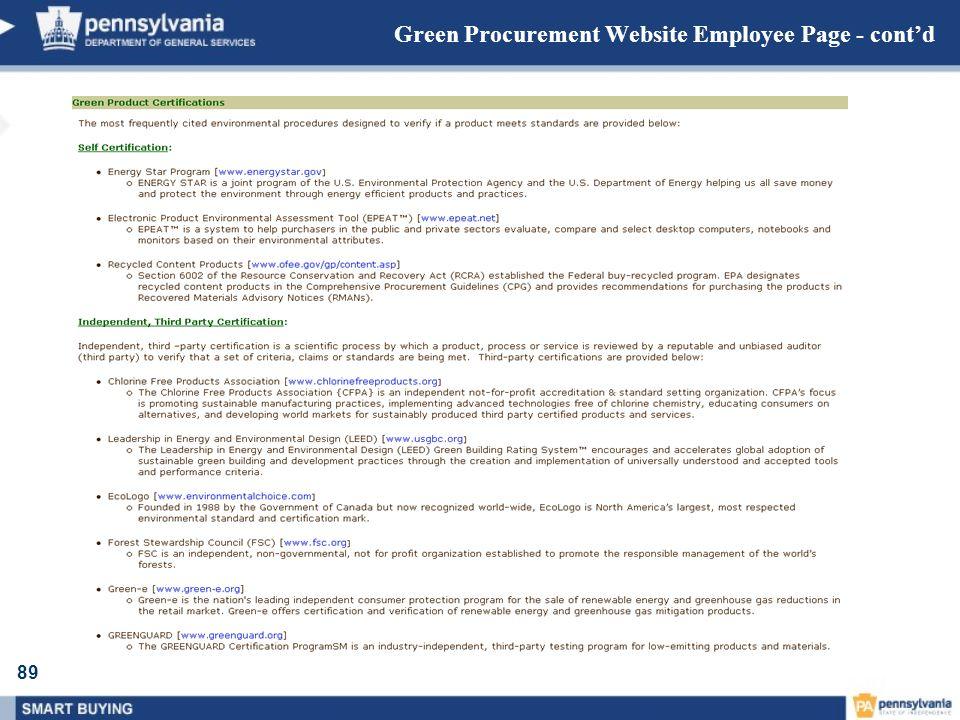 89 Green Procurement Website Employee Page - contd