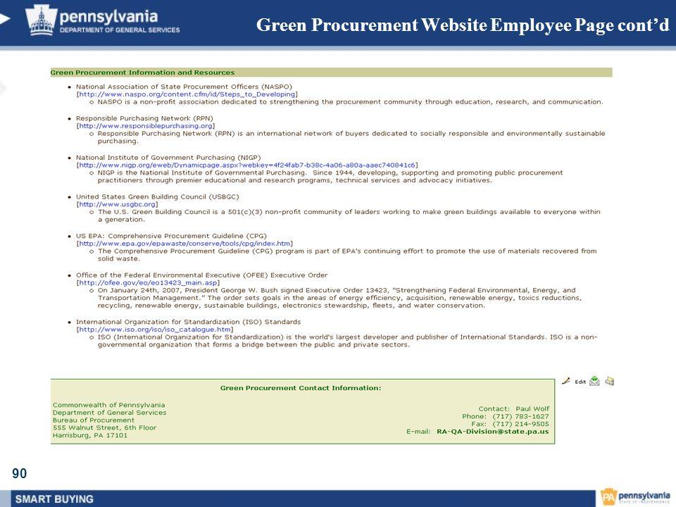 90 Green Procurement Website Employee Page contd