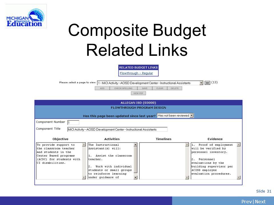 PrevNext | Slide 31 Composite Budget Related Links