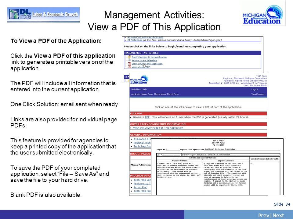 PrevNext | Slide 34 Management Activities: View a PDF of This Application To View a PDF of the Application: Click the View a PDF of this application l