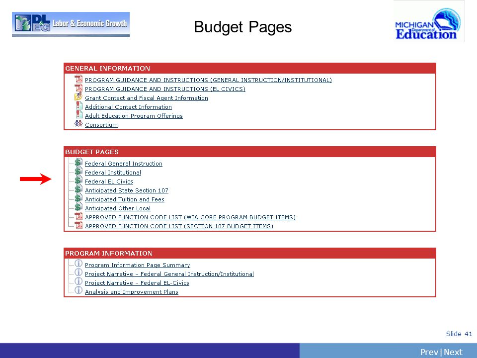 PrevNext | Slide 41 Budget Pages