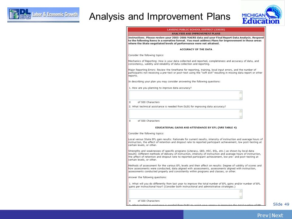 PrevNext | Slide 49 Analysis and Improvement Plans