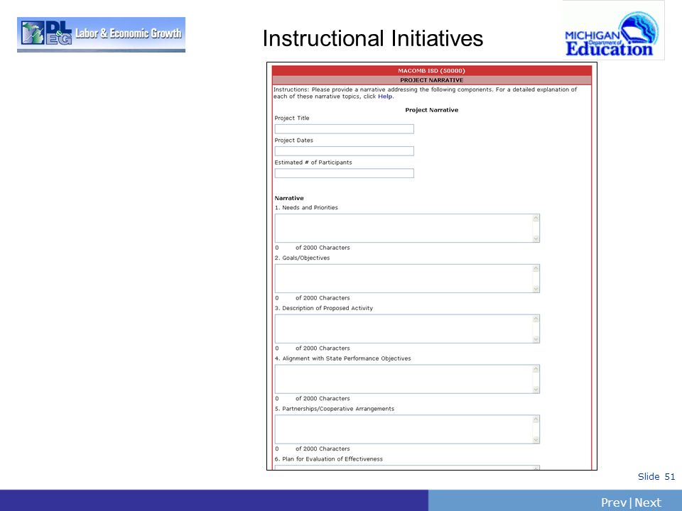 PrevNext | Slide 51 Instructional Initiatives
