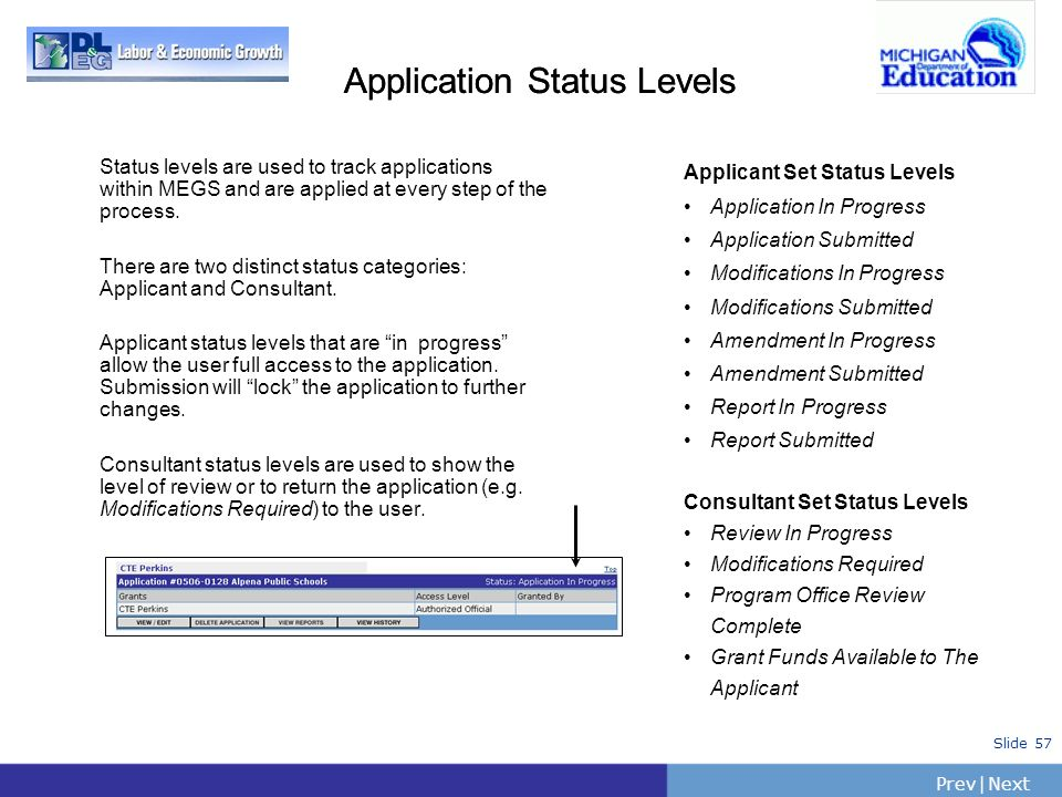 PrevNext | Slide 57 Application Status Levels Status levels are used to track applications within MEGS and are applied at every step of the process. T