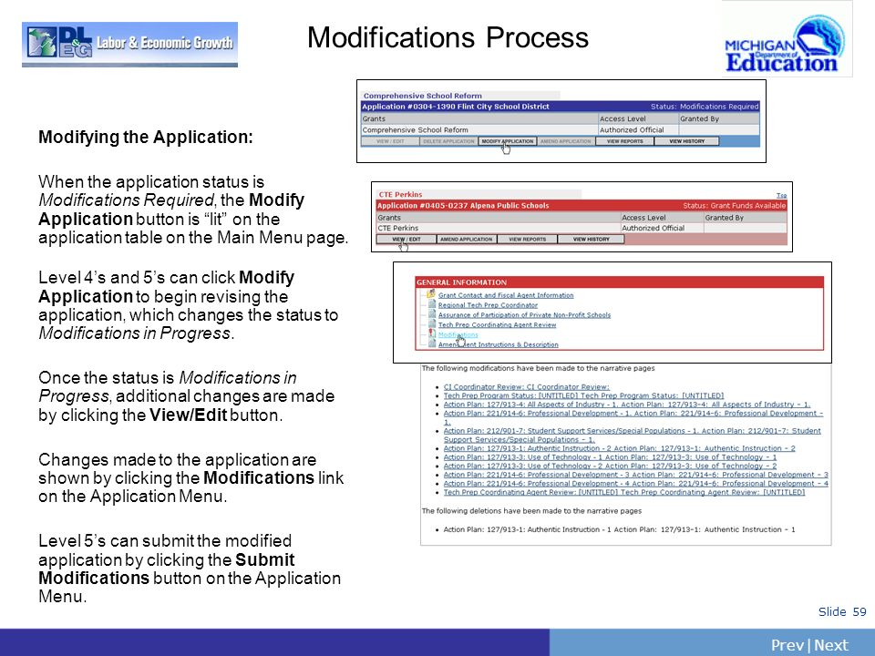 PrevNext | Slide 59 Modifications Process Modifying the Application: When the application status is Modifications Required, the Modify Application but