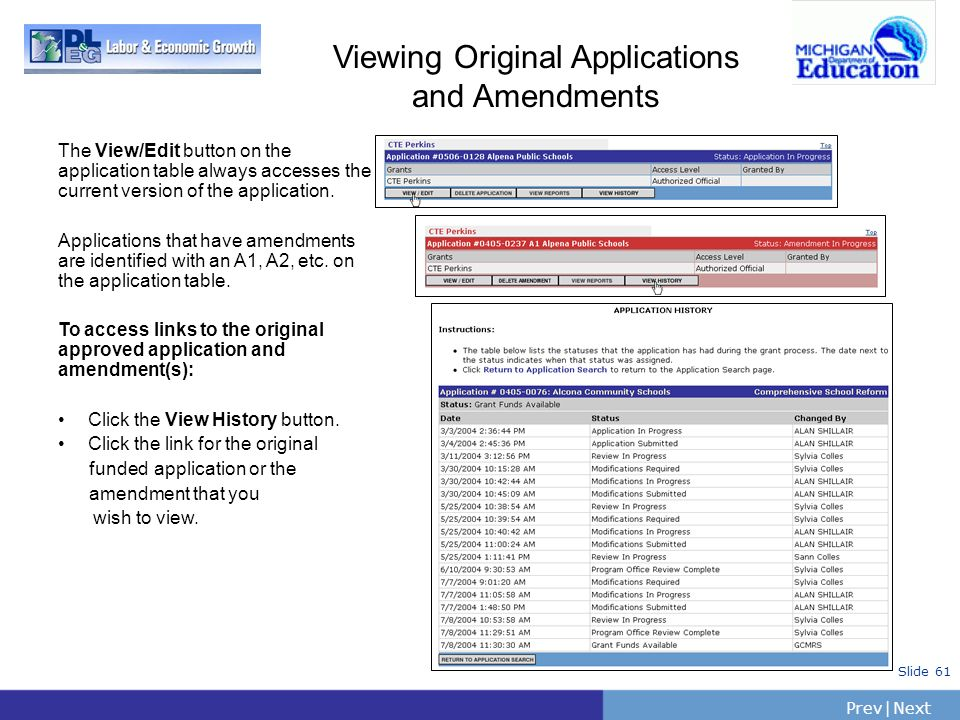 PrevNext | Slide 61 Viewing Original Applications and Amendments The View/Edit button on the application table always accesses the current version of