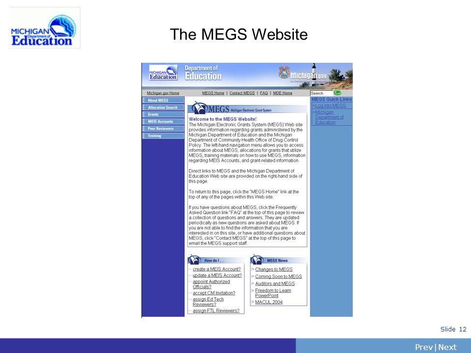 PrevNext | Slide 12 The MEGS Website