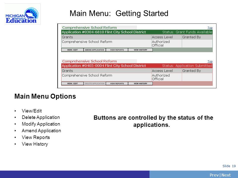 PrevNext | Slide 19 Main Menu: Getting Started Main Menu Options View/Edit Delete Application Modify Application Amend Application View Reports View H