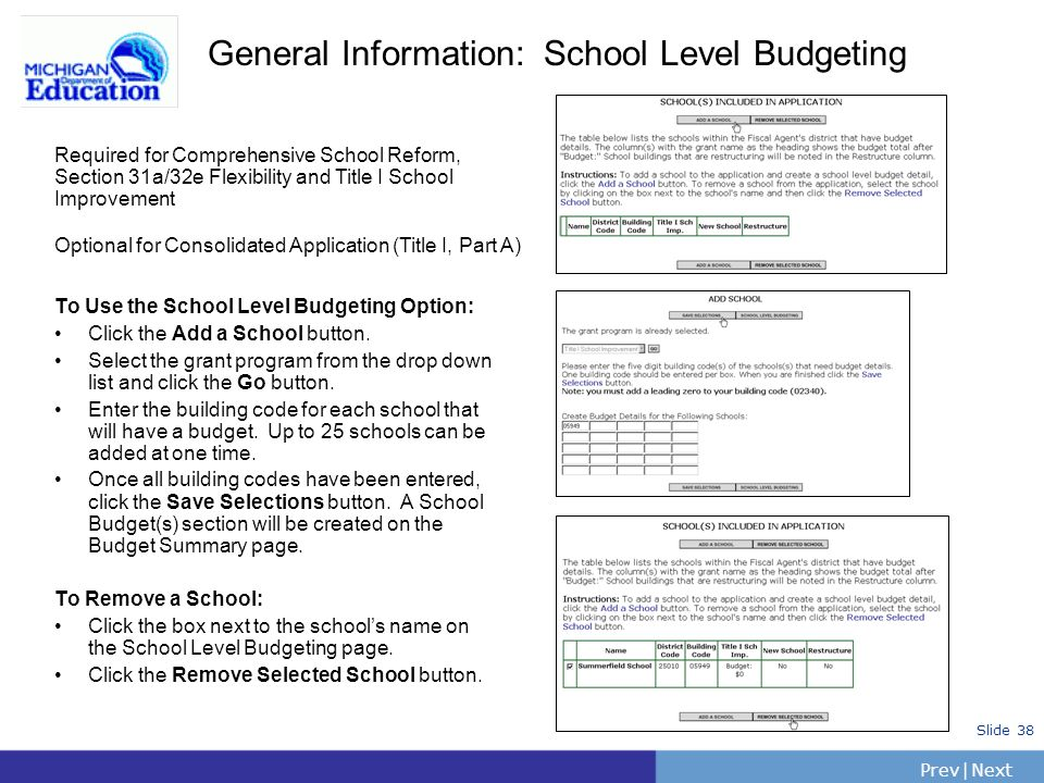 PrevNext | Slide 38 To Use the School Level Budgeting Option: Click the Add a School button. Select the grant program from the drop down list and clic