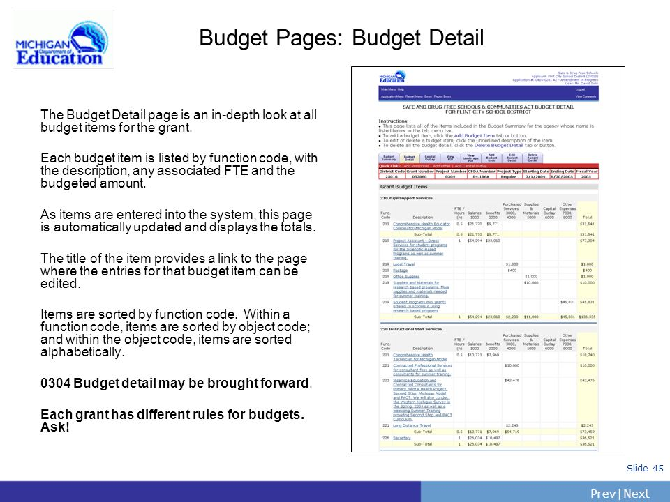 PrevNext | Slide 45 Budget Pages: Budget Detail The Budget Detail page is an in-depth look at all budget items for the grant. Each budget item is list