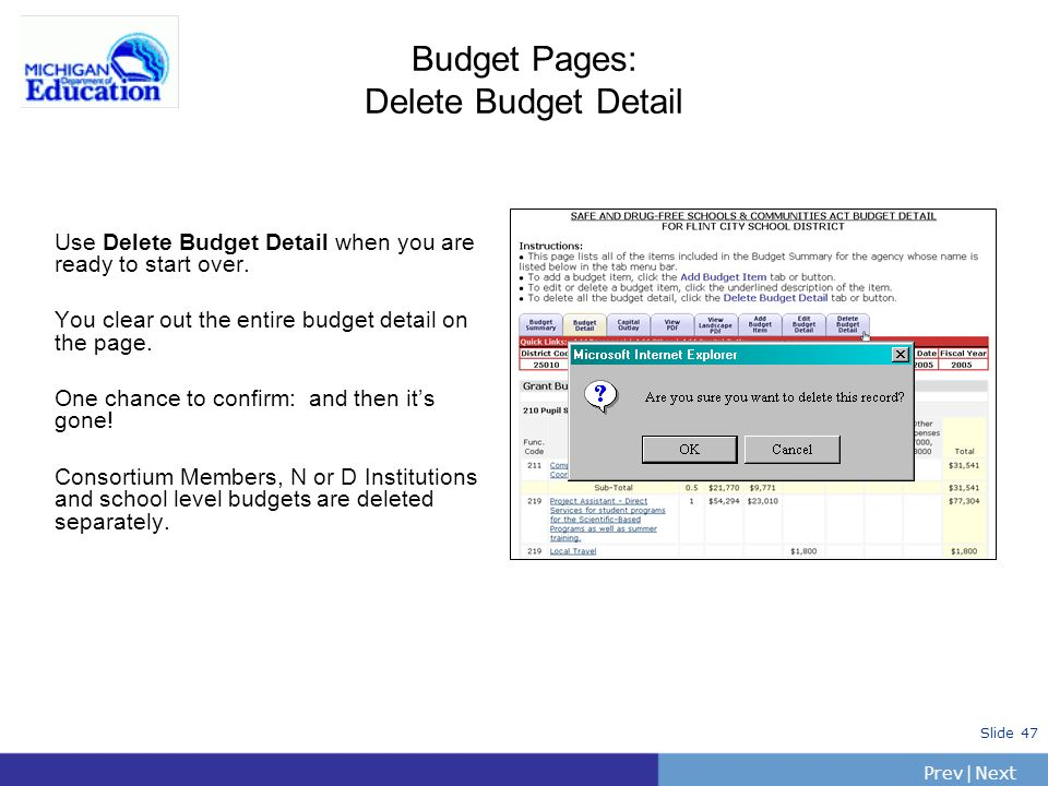 PrevNext | Slide 47 Budget Pages: Delete Budget Detail Use Delete Budget Detail when you are ready to start over. You clear out the entire budget deta