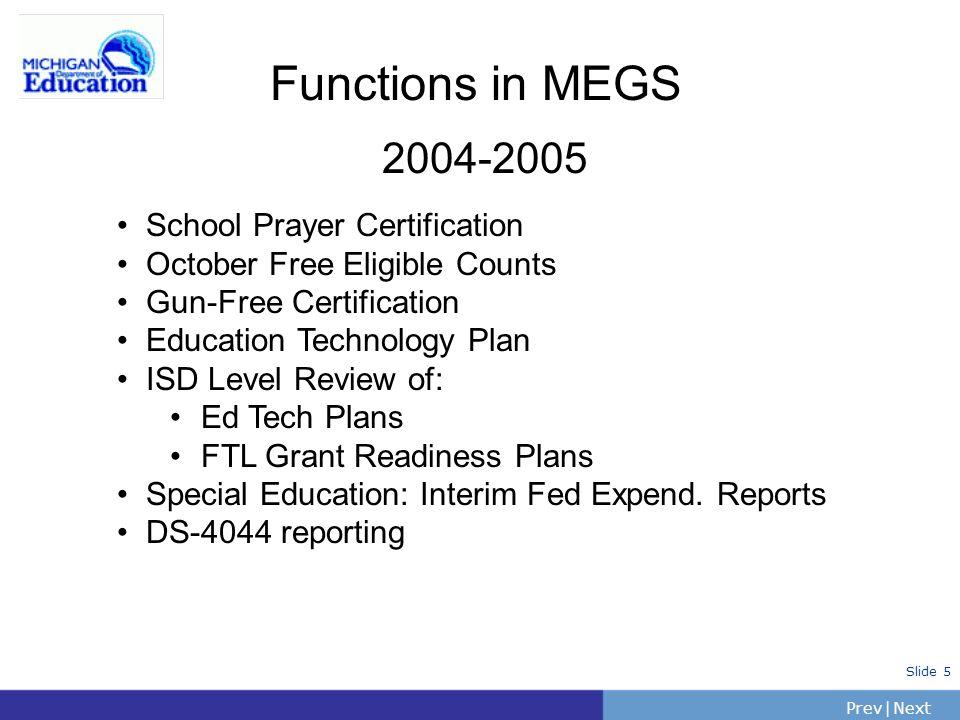 PrevNext | Slide 5 Functions in MEGS 2004-2005 School Prayer Certification October Free Eligible Counts Gun-Free Certification Education Technology Pl