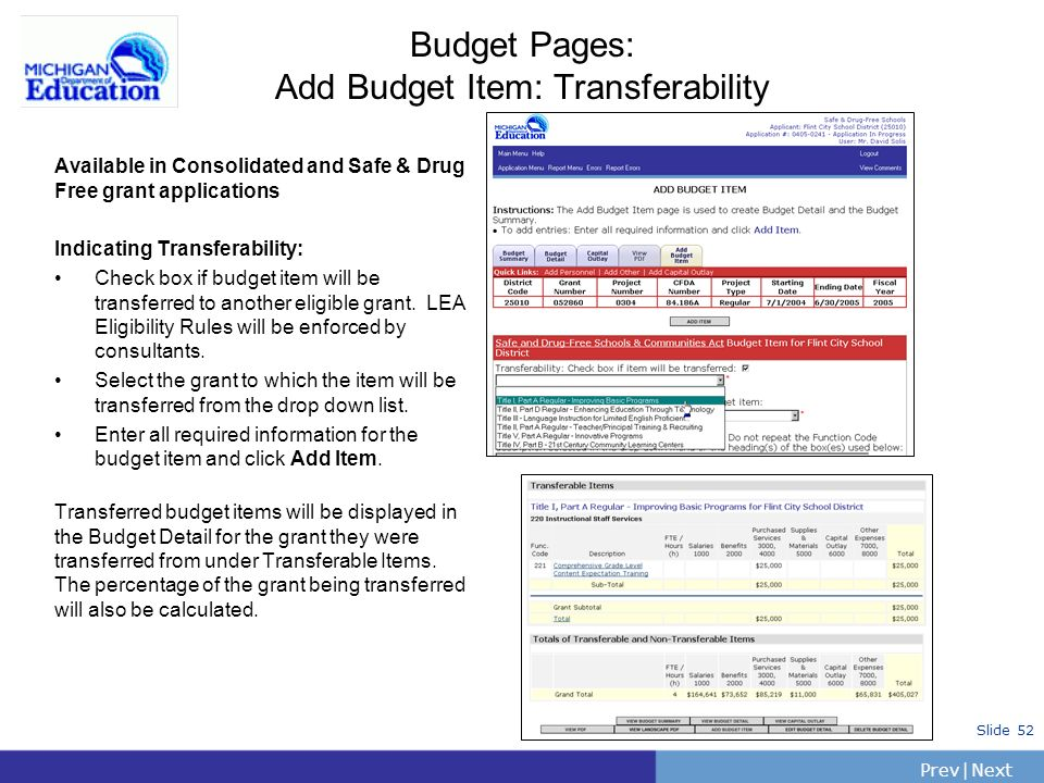 PrevNext | Slide 52 Available in Consolidated and Safe & Drug Free grant applications Indicating Transferability: Check box if budget item will be tra