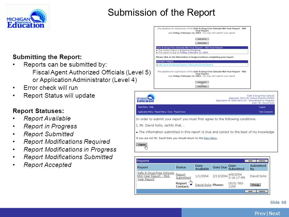 PrevNext | Slide 68 Submission of the Report Submitting the Report: Reports can be submitted by: Fiscal Agent Authorized Officials (Level 5) or Applic