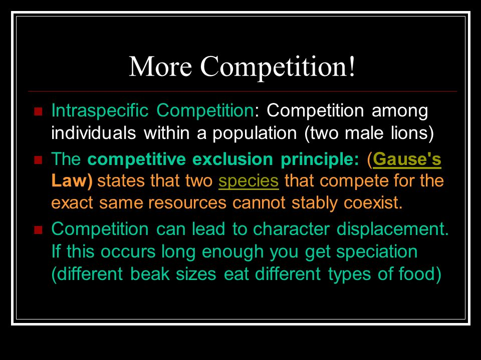 More Competition! Intraspecific Competition: Competition among individuals within a population (two male lions) The competitive exclusion principle: (
