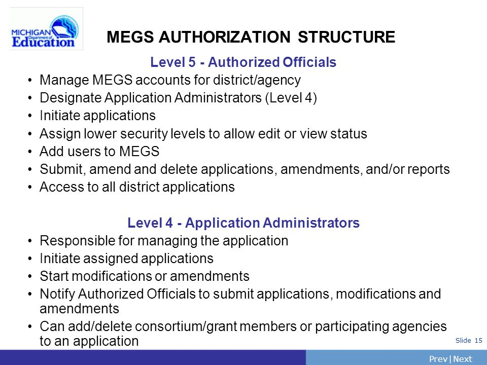 PrevNext | Slide 15 MEGS AUTHORIZATION STRUCTURE Level 5 - Authorized Officials Manage MEGS accounts for district/agency Designate Application Administrators (Level 4) Initiate applications Assign lower security levels to allow edit or view status Add users to MEGS Submit, amend and delete applications, amendments, and/or reports Access to all district applications Level 4 - Application Administrators Responsible for managing the application Initiate assigned applications Start modifications or amendments Notify Authorized Officials to submit applications, modifications and amendments Can add/delete consortium/grant members or participating agencies to an application