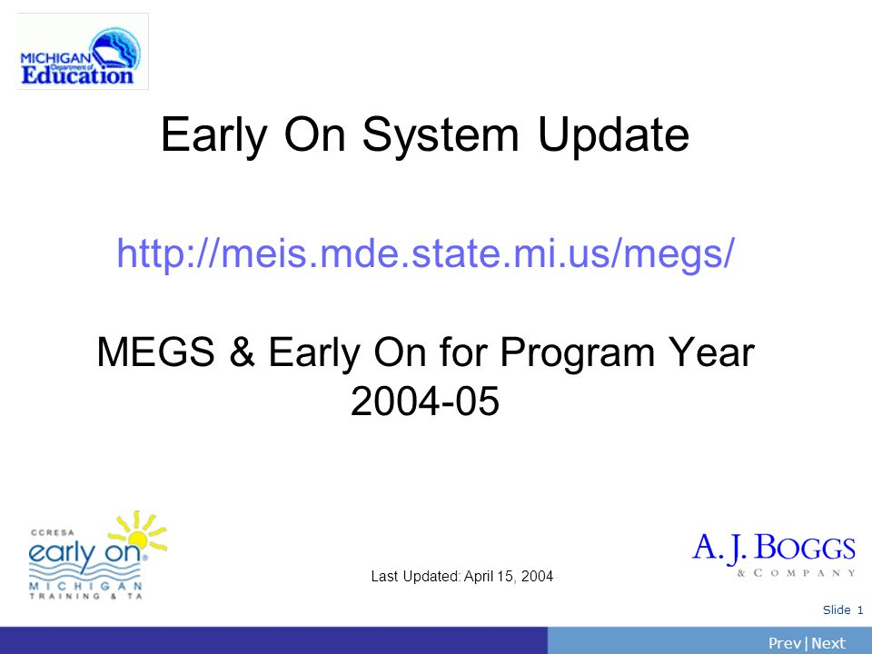 PrevNext | Slide 2 1.Introduction 2.MEGS 101 Refresher 3.Changes for this year Local Self Assessment Carryover Interim Federal Cost Reporting DS-4044 reporting System Review 4.Questions and Answers 5.Hands On Session MEGS: Early On Updates
