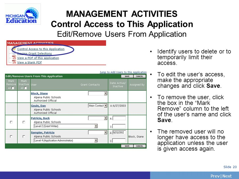PrevNext | Slide 21 MANAGEMENT ACTIVITIES View a PDF of the Application PDF rules: request to generate the PDF file of entire application.