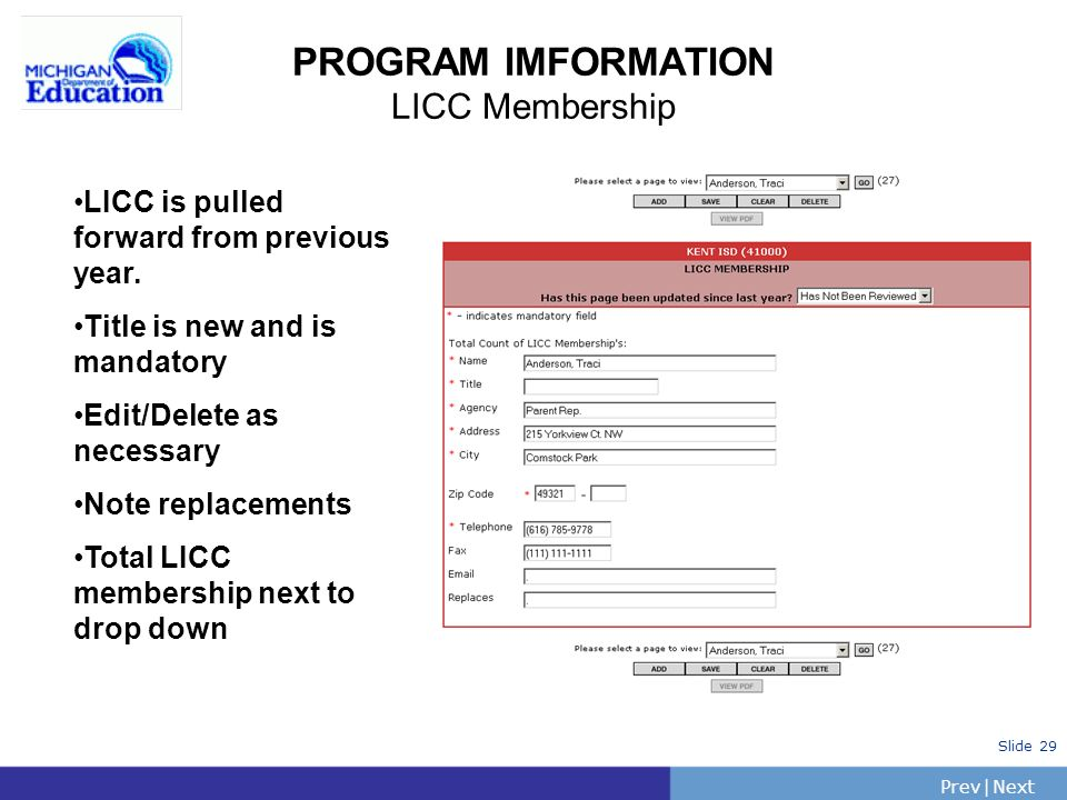 PrevNext | Slide 30 PROGRAM INFORMATION Service Area Plan Last years entries pulled forward Has this page been updated.