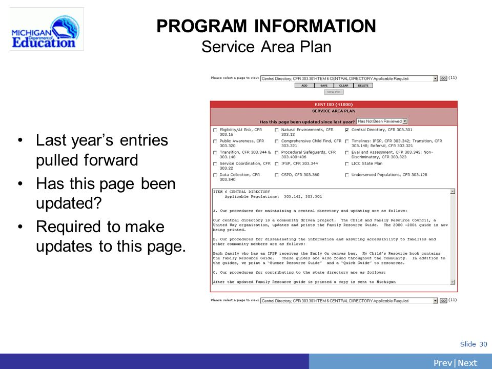PrevNext | Slide 31 PROGRAM INFORMATION Consent of Collaboration Last years entries pulled forward Has this page been updated.