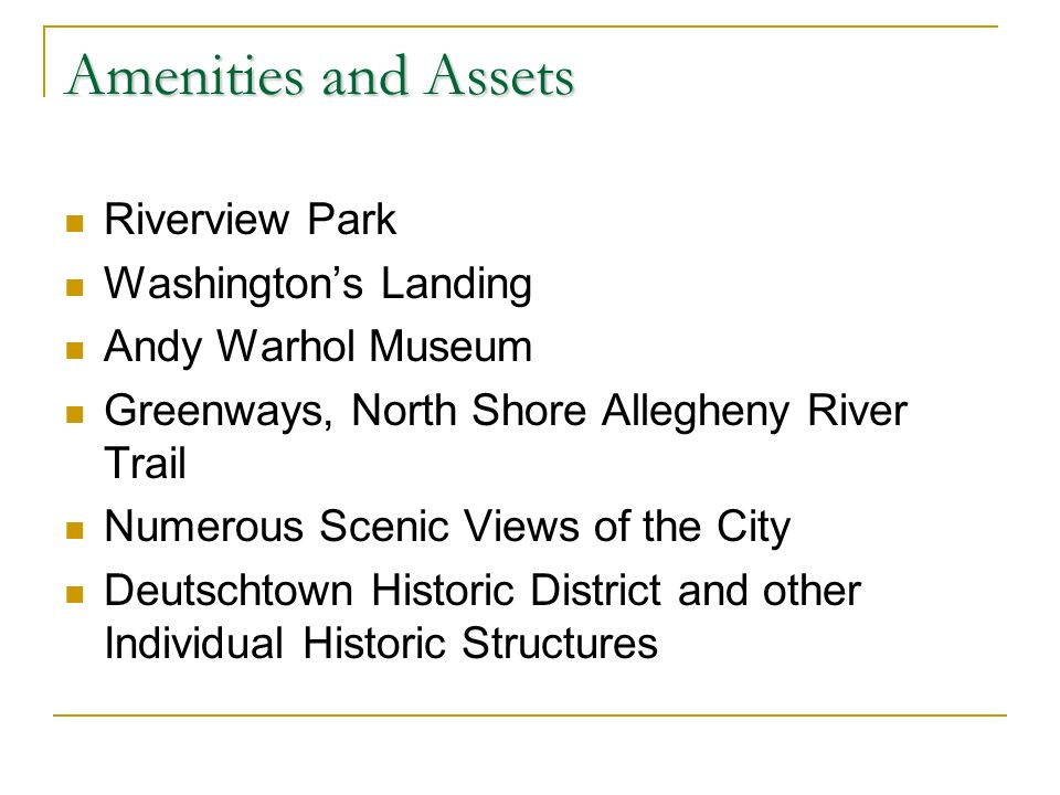 Amenities and Assets Riverview Park Washingtons Landing Andy Warhol Museum Greenways, North Shore Allegheny River Trail Numerous Scenic Views of the City Deutschtown Historic District and other Individual Historic Structures