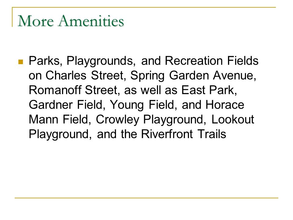 More Amenities Parks, Playgrounds, and Recreation Fields on Charles Street, Spring Garden Avenue, Romanoff Street, as well as East Park, Gardner Field, Young Field, and Horace Mann Field, Crowley Playground, Lookout Playground, and the Riverfront Trails
