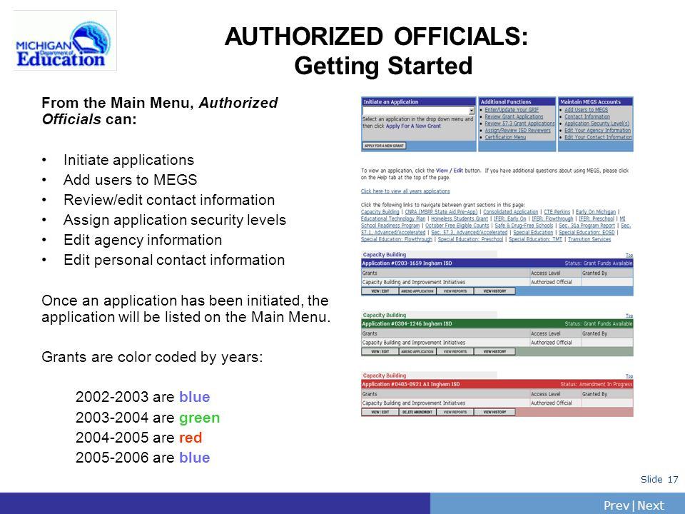 PrevNext | Slide 17 AUTHORIZED OFFICIALS: Getting Started From the Main Menu, Authorized Officials can: Initiate applications Add users to MEGS Review