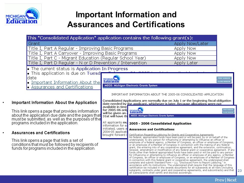 PrevNext | Slide 23 Important Information and Assurances and Certifications Important Information About the Application This link opens a page that provides information about the application due date and the pages that must be submitted, as well as the purposes of the programs included in the application.