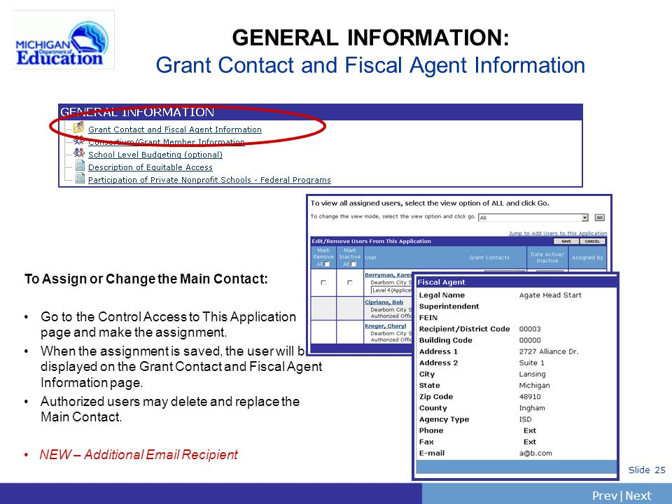 PrevNext | Slide 25 GENERAL INFORMATION: Grant Contact and Fiscal Agent Information To Assign or Change the Main Contact: Go to the Control Access to This Application page and make the assignment.