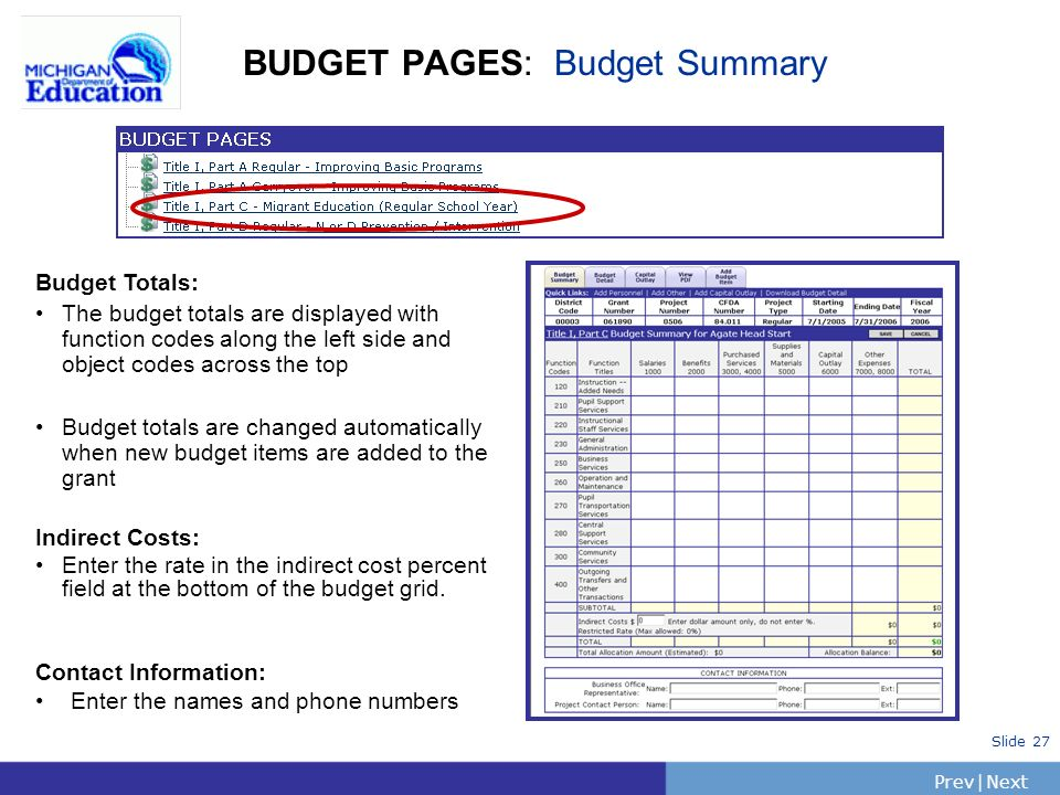 PrevNext | Slide 27 BUDGET PAGES: Budget Summary Budget Totals: The budget totals are displayed with function codes along the left side and object codes across the top Budget totals are changed automatically when new budget items are added to the grant Indirect Costs: Enter the rate in the indirect cost percent field at the bottom of the budget grid.