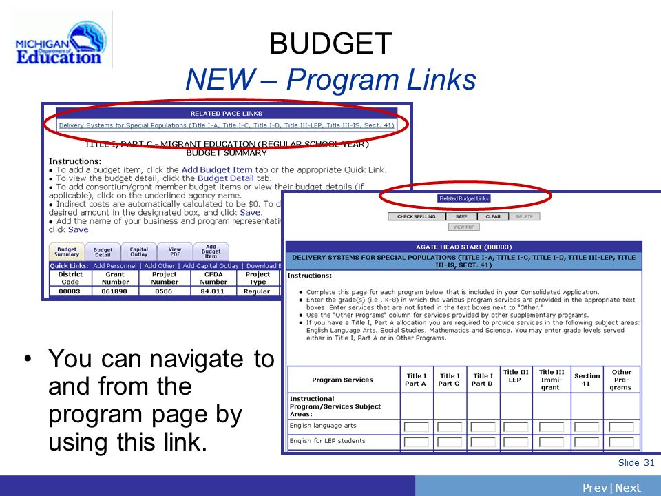 PrevNext | Slide 31 BUDGET NEW – Program Links You can navigate to and from the program page by using this link.