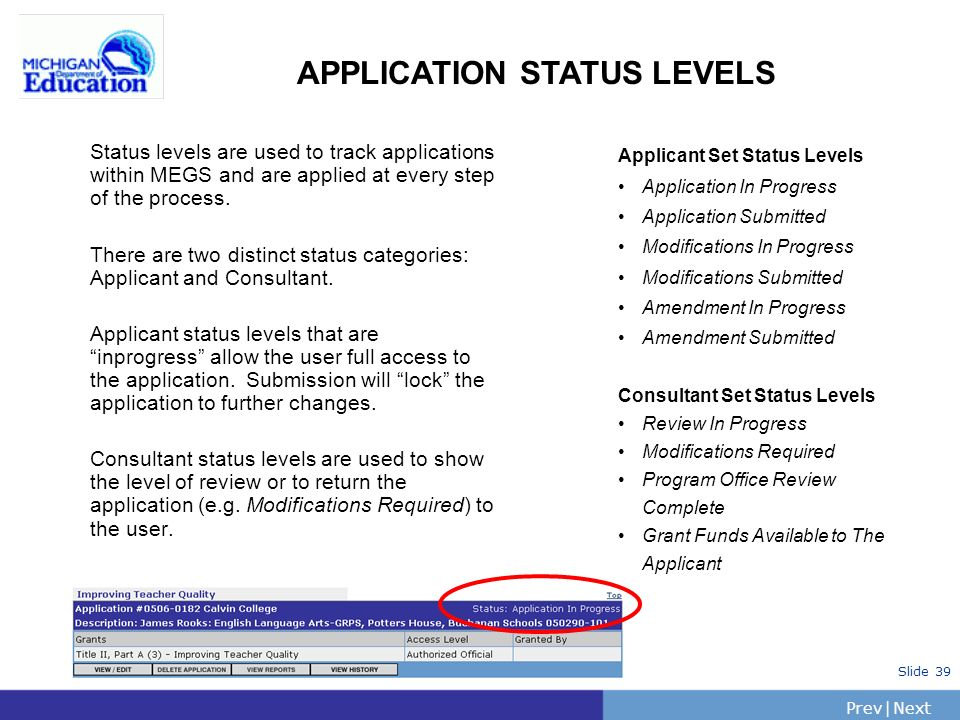 PrevNext | Slide 39 APPLICATION STATUS LEVELS Status levels are used to track applications within MEGS and are applied at every step of the process.