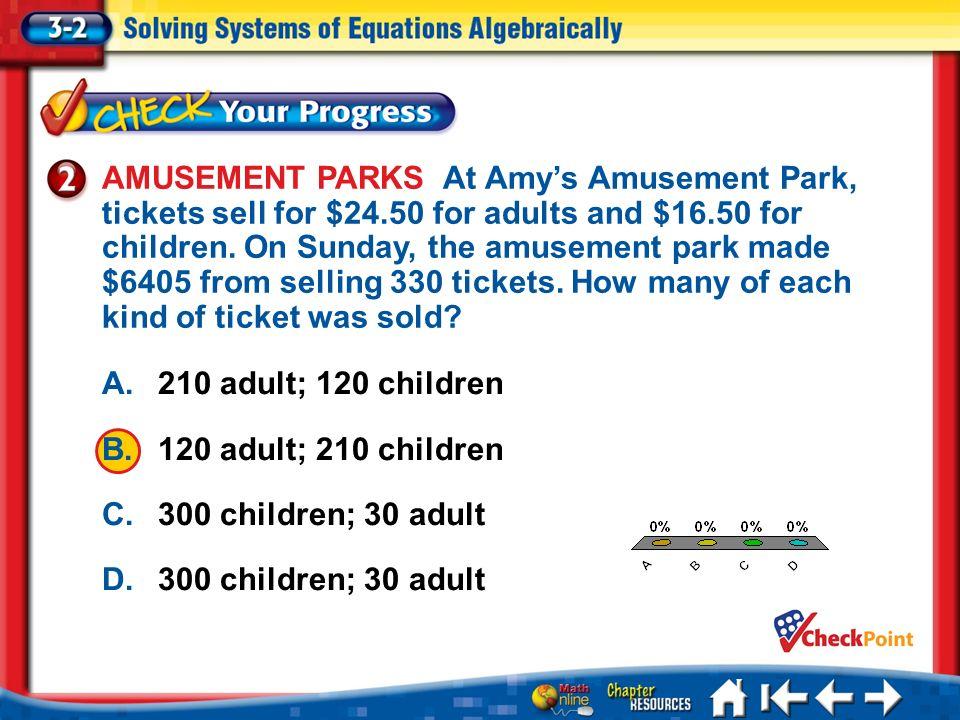 Lesson 3-2 CYP 2 A. A B. B C. C D. D A.210 adult; 120 children B.120 adult; 210 children C.300 children; 30 adult D.300 children; 30 adult AMUSEMENT P