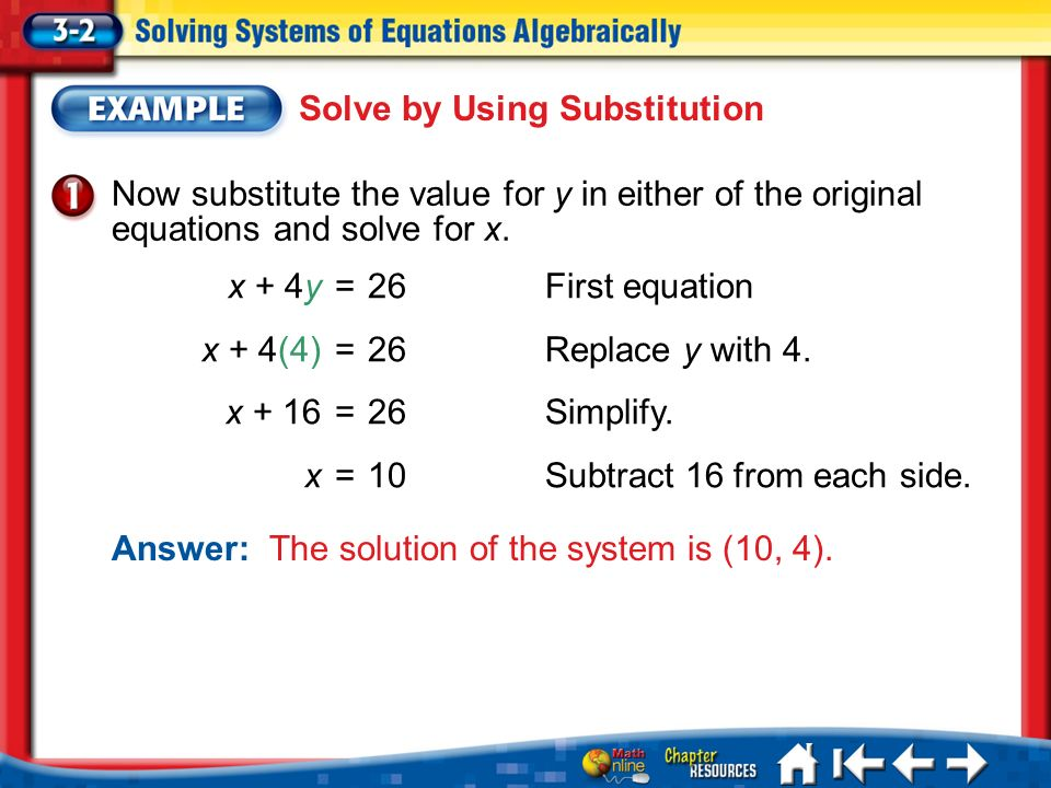 Lesson 3-2 Example 1 Now substitute the value for y in either of the original equations and solve for x.