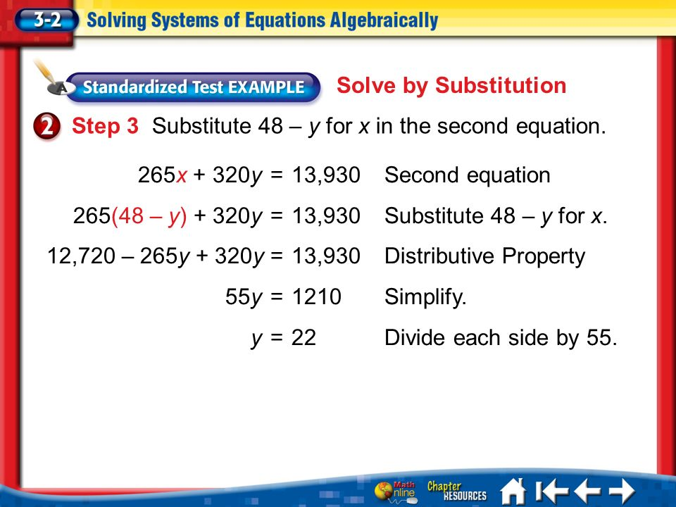 Lesson 3-2 Example 2 Step 3 Substitute 48 – y for x in the second equation.