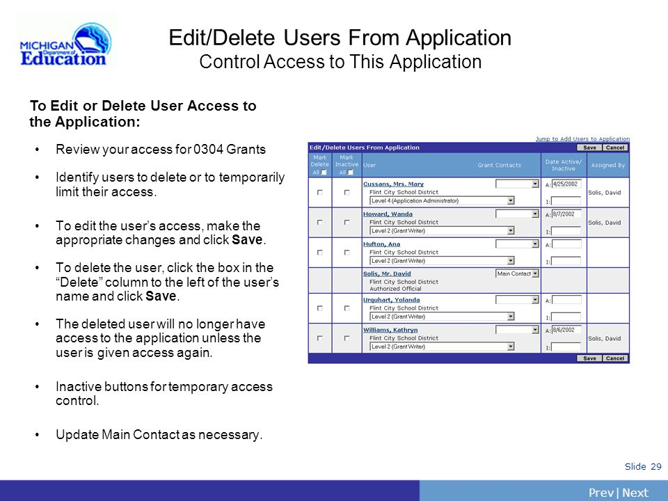 PrevNext | Slide 28 Add Users to Application: Control Access to This Application To Give Users Access to the Application: Go to the Add Users to Appli