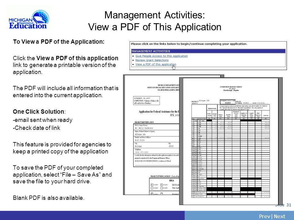 PrevNext | Slide 30 Management Activities: Review Grant Selections To Review/Change Grant Selections: Click the Review Grant Selections link on the Ap