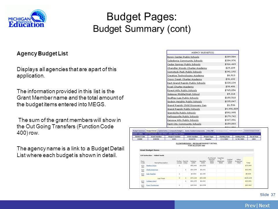 PrevNext | Slide 36 Budget Pages: Budget Summary To Enter Indirect Costs: Determine the indirect cost rate to be used. Enter the rate in the indirect
