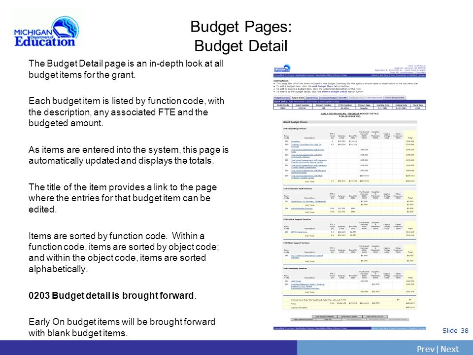 PrevNext | Slide 37 Budget Pages: Budget Summary (cont) Agency Budget List Displays all agencies that are apart of this application. The information p