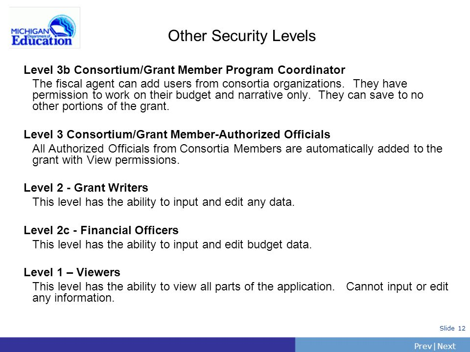 PrevNext | Slide 12 Other Security Levels Level 3b Consortium/Grant Member Program Coordinator The fiscal agent can add users from consortia organizat