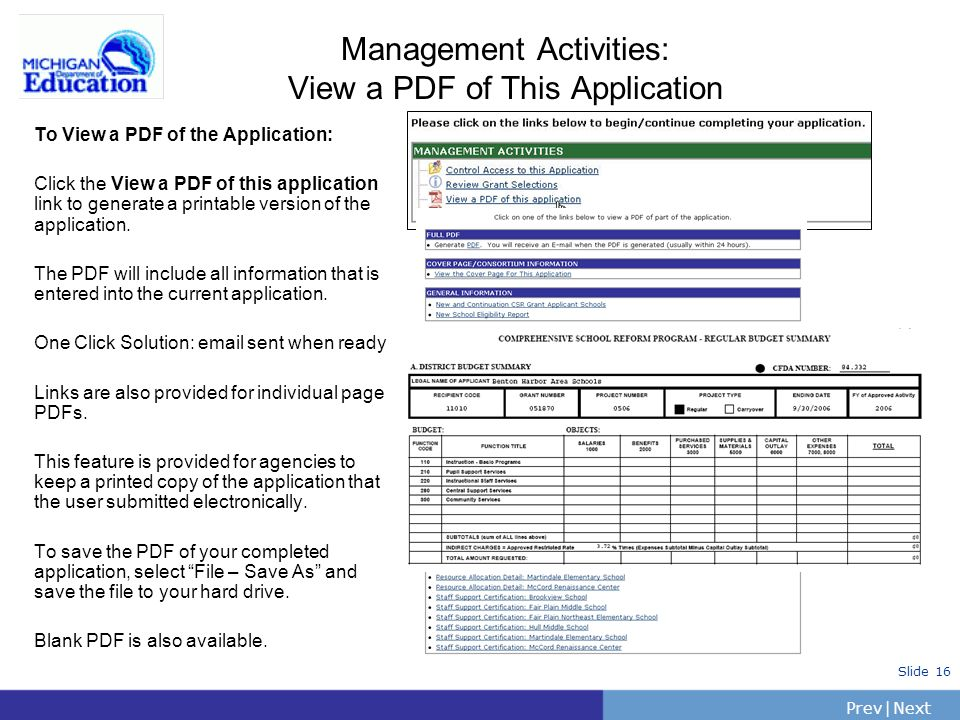 PrevNext | Slide 16 Management Activities: View a PDF of This Application To View a PDF of the Application: Click the View a PDF of this application l