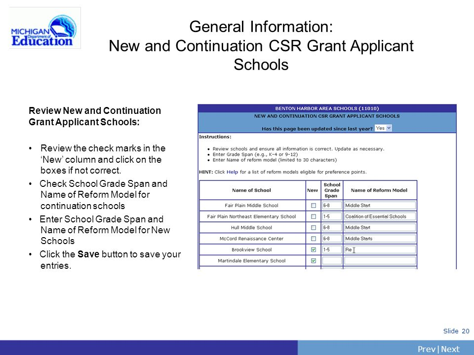 PrevNext | Slide 20 General Information: New and Continuation CSR Grant Applicant Schools Review New and Continuation Grant Applicant Schools: Review