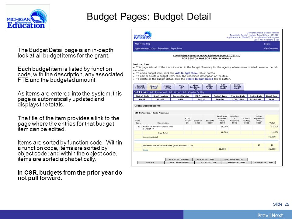 PrevNext | Slide 25 Budget Pages: Budget Detail The Budget Detail page is an in-depth look at all budget items for the grant. Each budget item is list