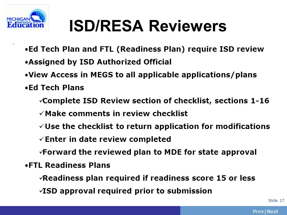 PrevNext | Slide 17 ISD/RESA Reviewers.