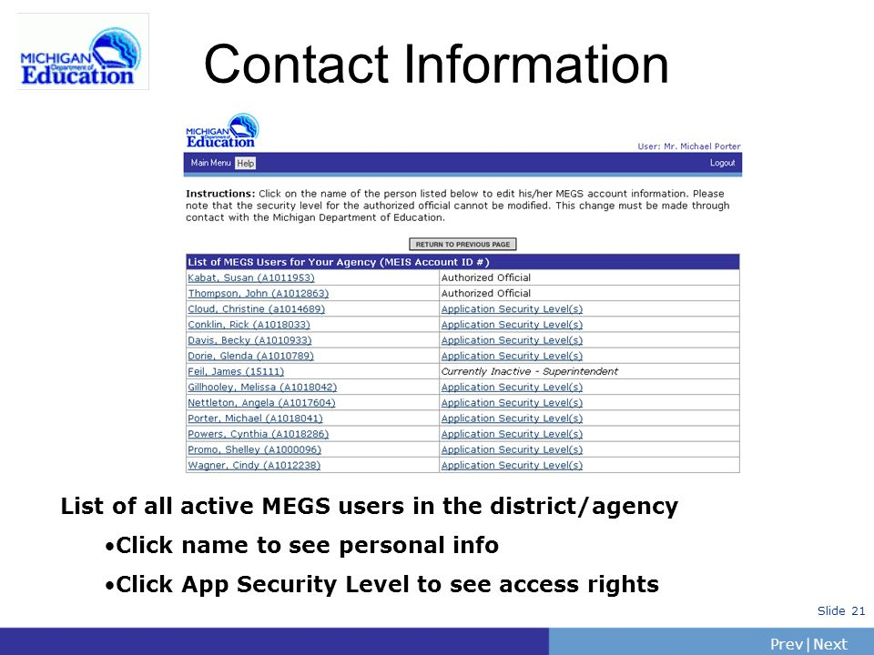PrevNext | Slide 21 Contact Information List of all active MEGS users in the district/agency Click name to see personal info Click App Security Level to see access rights