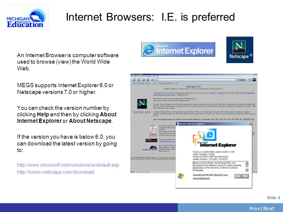 PrevNext | Slide 6 Internet Browsers: I.E.