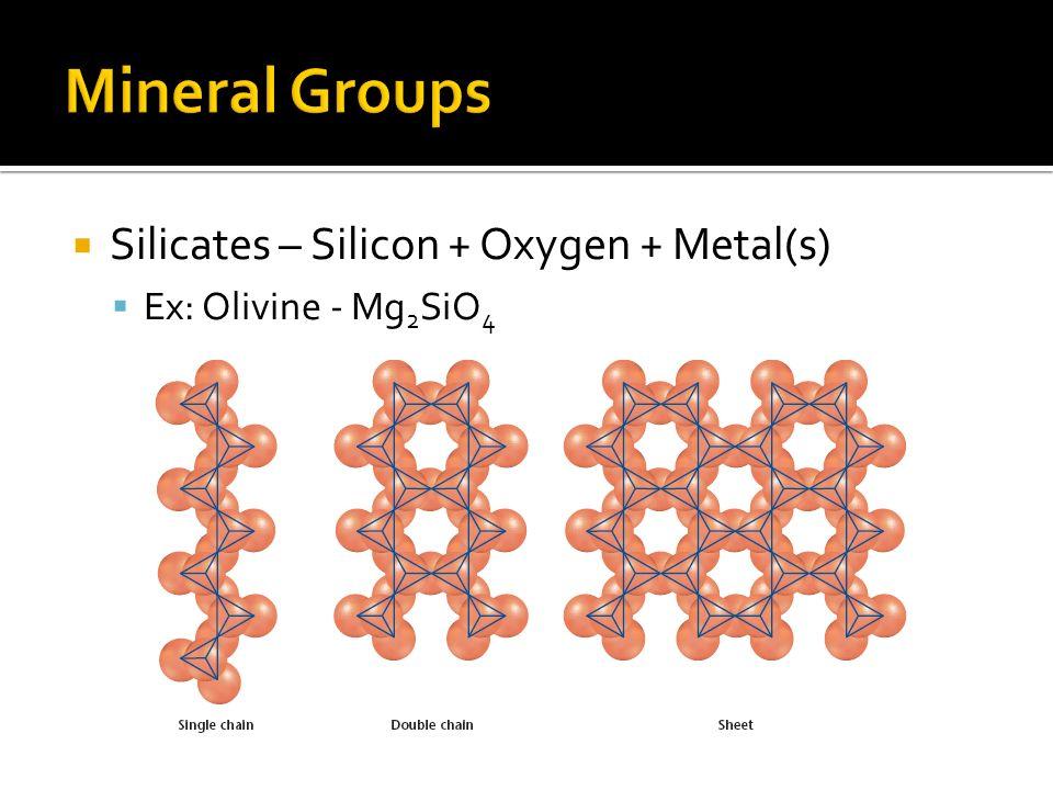 Silicates – Silicon + Oxygen + Metal(s) Ex: Olivine - Mg 2 SiO 4