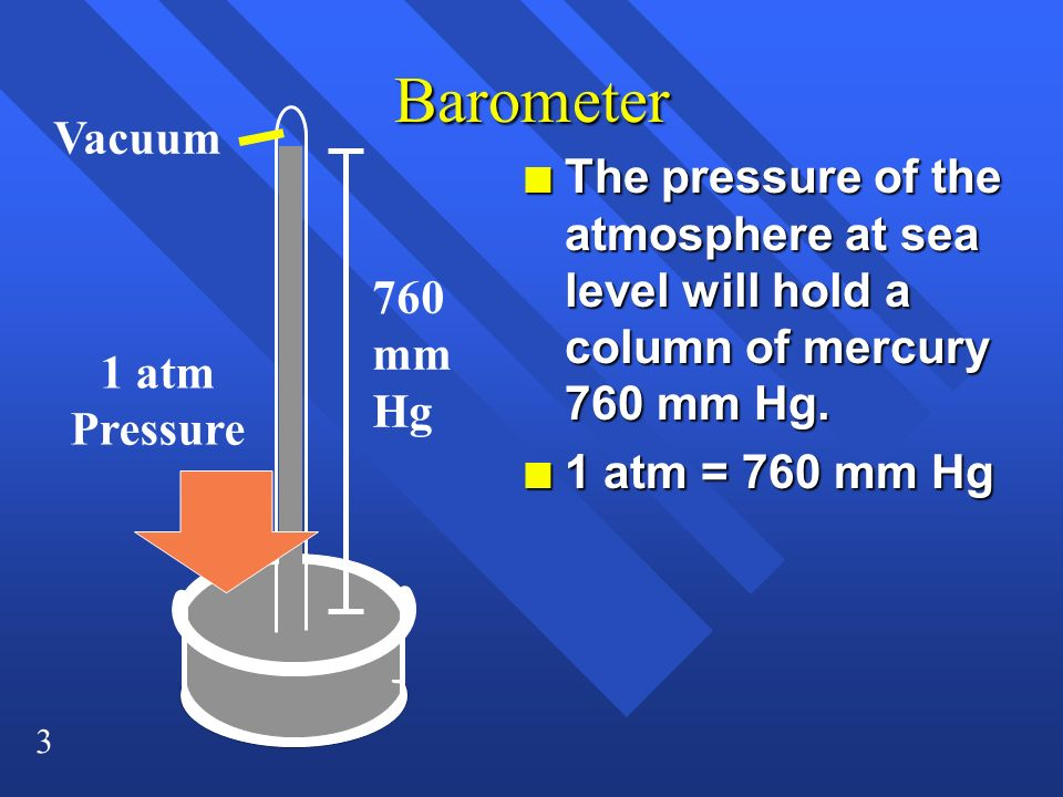 3 Barometer n The pressure of the atmosphere at sea level will hold a column of mercury 760 mm Hg. n 1 atm = 760 mm Hg 1 atm Pressure 760 mm Hg Vacuum