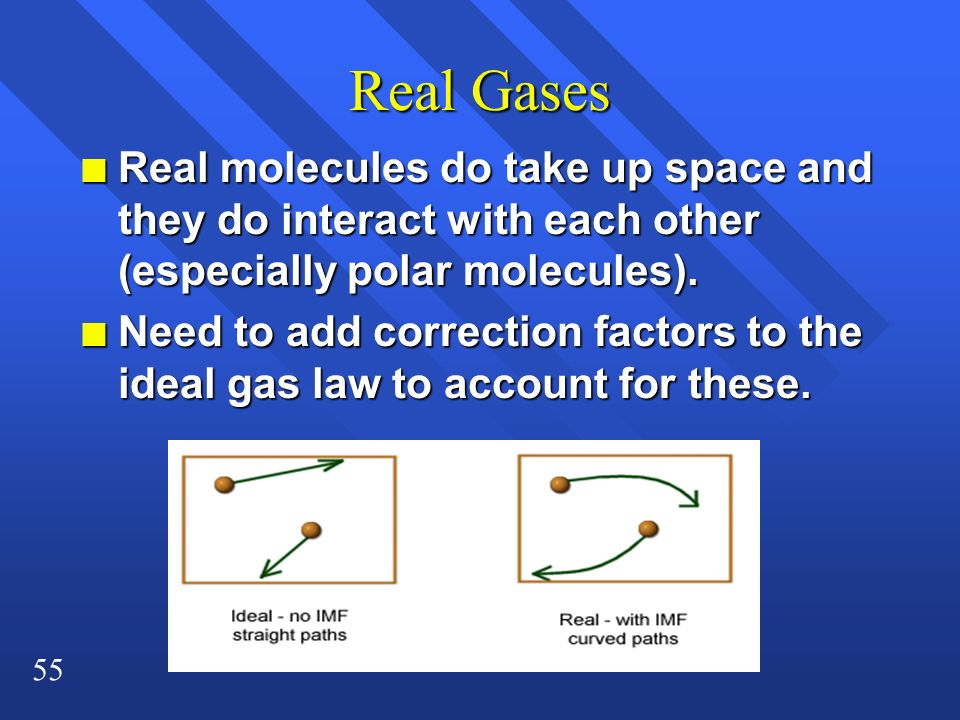 55 Real Gases n Real molecules do take up space and they do interact with each other (especially polar molecules). n Need to add correction factors to