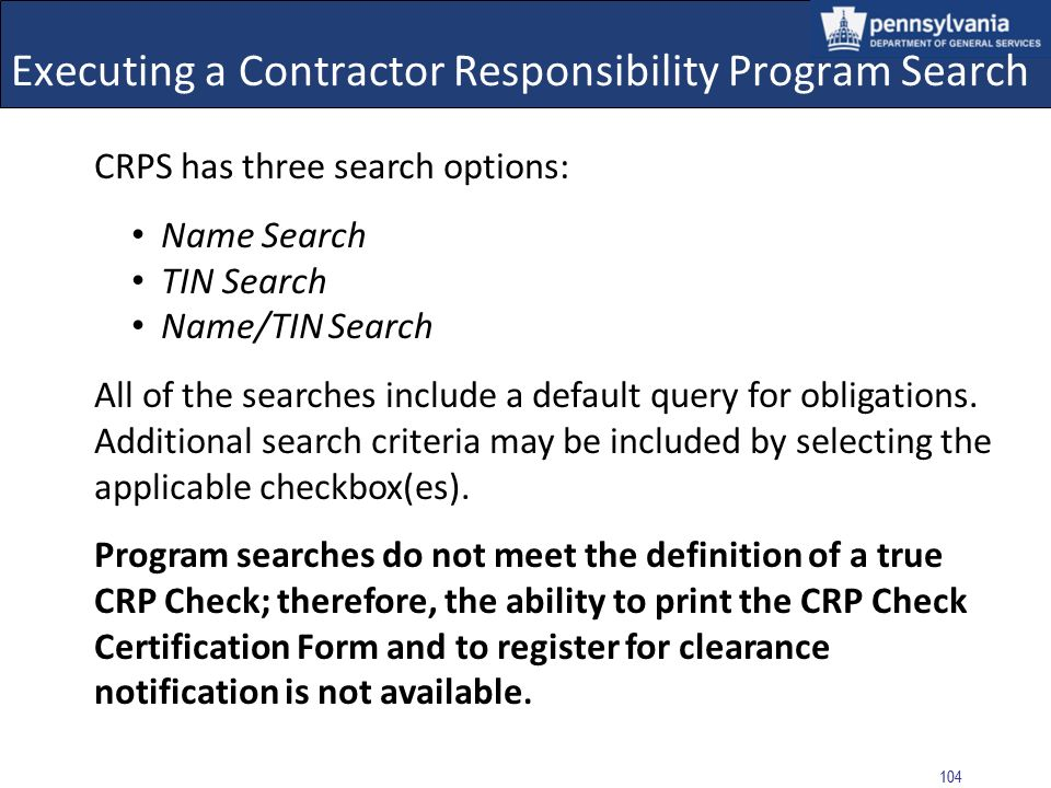 Executing a Contractor Responsibility Program (CRP) Search for (PI) Creator and (PI) Approver